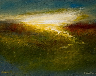 Abstract landscape painting, sunset art, abstract art,expressive, light, 5x7,
