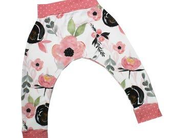 Poppy Watercolor Floral Harem Pants, Baby and Kids Harem Pant Leggings, Girls Pants, Wispy Floral, Boho Style