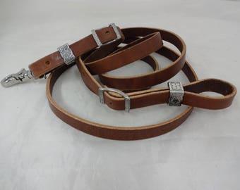 "Brown Latigo Leather Roping Barrel Rein 5/8"" x 8' Jeremiah Watt Hardware Horse Tack Western"
