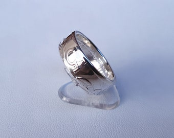 Ring coin 5 francs Monaco in Silver (coin ring)