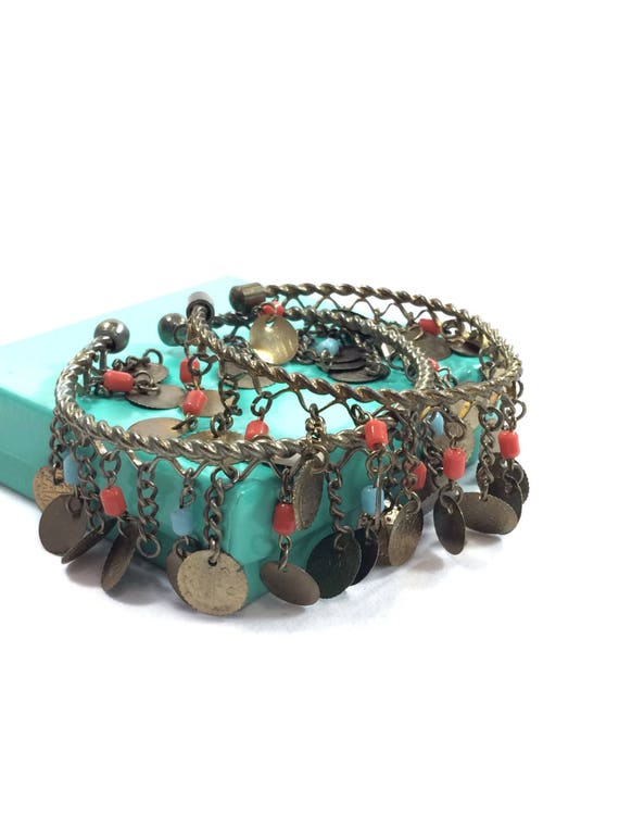 Pair Tribal Bracelets Anklets, Twisted Wire & Brass Dangles, Calligraphy Coin Charms, Turquoise Coral Beads, Vintage Boho Gypsy Jewelry