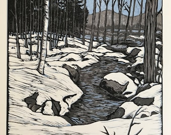 Goffstown Stream Reduction Block Print