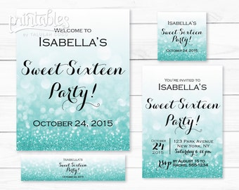 Sweet 16 Invitations, Sweet Sixteen Party Decor Turquoise, Sweet 16 Glitter Party Sign, Quinceanera Invites, Favor Tags, Water Bottle Labels