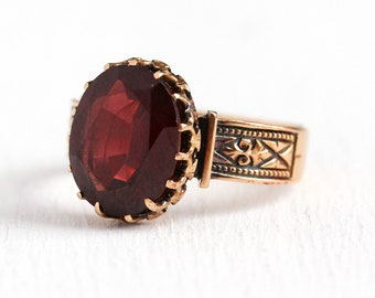 Victorian Garnet Ring - Antique 14k Rose Gold Solitaire Red Gem Statement - Size 6 3/4 January Birthstone 3 + Carat Fine Vintage Jewelry