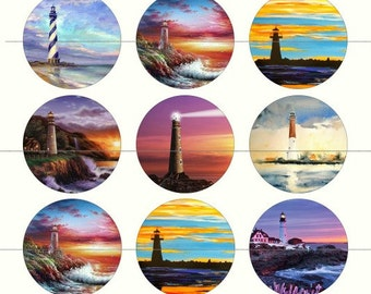 """Lighthouse Magnets, Lighthouse Pins, Ocean, Sea, Marine Magnets, 1""""Inch Flat, Hollow Backs, Cabochonc, 12 ct"""