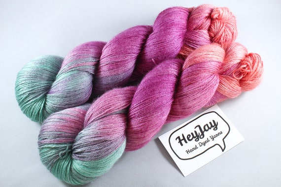 Hand Dyed Sock Yarn 4ply, Plus Size Skein, 150g/600m, BFL and Silk, Fiesta