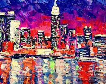 Big city; original palette knife oil painting on canvas