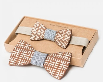 """Wooden Bow Tie """"Etnographic"""" - for Adults and Kids"""