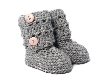 Eyelet Lace Crochet Baby Booties