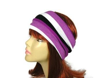 Cotton Purple Striped Jersey Headwrap Jersey Headband Yoga Head Wrap Purple Headband Yoga Headband Headgear Purple Stripe Headwrap Headband