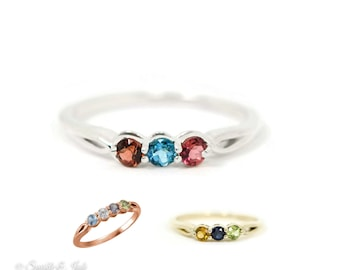 Personalized Sterling Silver, 10k, 14k White or Yellow Gold 2 3 4 or 5 Stone Side Twist Mothers Birthstone Ring