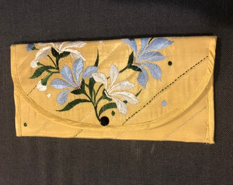 Gorgeous vintage gold silk hand stitched clutch with pearl applique
