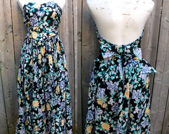 80s Cotton Full Circle Floral Prom Party Dress Strapless Sweetheartby Laura Ashley in black - M
