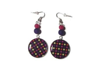 Multicolored dots cabochon earrings / gift