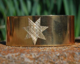 Gold Cherokee Star Bracelet, Cherokee Star Cuff, Cherokee Jewelry, Cherokee Bracelet, Cherokee Cuff, Cherokee Copper