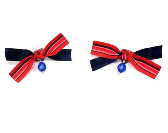 Red and Navy Blue Striped Bow Shoe Clips, Wedding Shoe Clips, Casual or Dressy for Flip Flops, Summer Sandles,