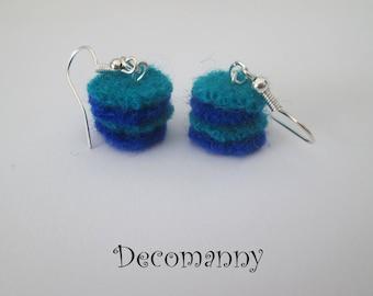 Boucles d'oreilles feutrine bleu cobalt et turquoise