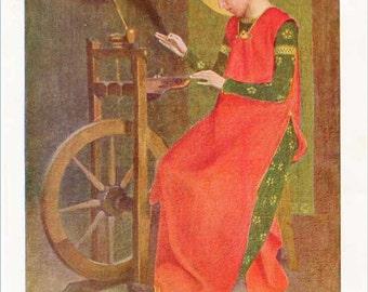 Vintage 1930's St. Elizabeth at her Spinning Wheel  Illustration Bookplate Print for Framing