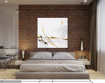 Large Original Surrealistic Contemporary Abstract Painting, acrylics on canvas, gold and black