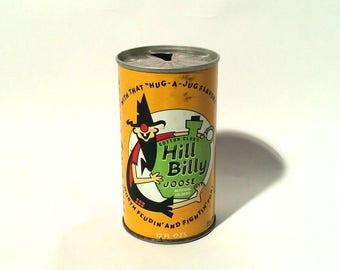 Vintage 1960s 'HillBilly Joose' Novelty Collectible Steel Pop Soda Can/Pop Tab
