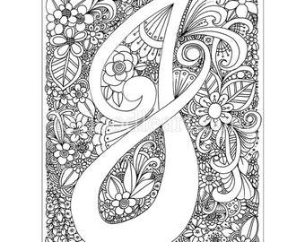 Instant Digital Download - Adult coloring page - letter J