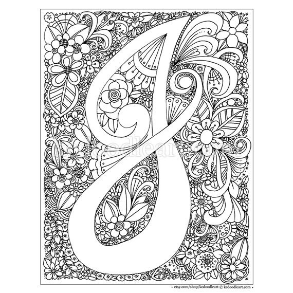 Instant digital download adult coloring page letter j Electronic coloring book for adults