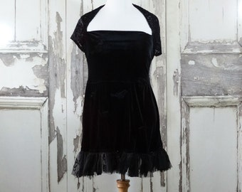 Sale Womens Black Velvet Goth Dress with Black Bird Appliques and Skull Lace Hem Dark Fairy Upcycled Clothing