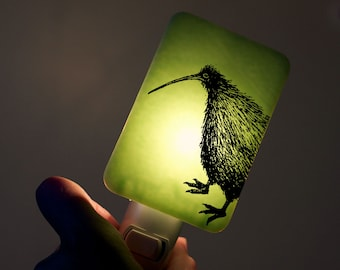 Kiwi Nightlight on Pastel Mint Green Fused Glass Night Light - Gift for Baby Shower or Nature Lover - New Zealand Wildlife