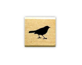 tiny Bird Silhouette mounted rubber stamp, bird journal stamp, mail art, gift tag stamp, Sweet Grass Stamps No.9