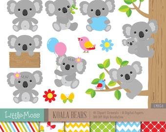 Koala Bear Digital Clipart and Papers