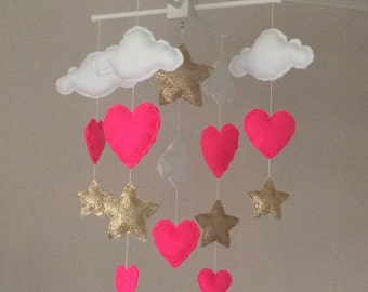 Baby mobile - Baby girl mobile - Cot mobile - Stars and hearts mobile - Cloud Mobile - Nursery Decor - Gold and pink.
