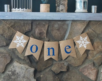 Winter First Birthday Banners, Snowflake 1st Birthday Banner, Snowflake One Banner, First Birthday Decor, 1st birthday Party Supplies, B464