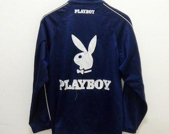 Vintage 90's Playboy Blue Black Track Trainer Big Logo Sweater Hip Hop Size M xg2CuSuR