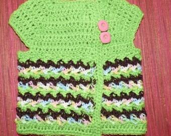 crocheted striped baby vest