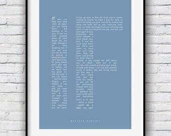 If Rudyard Kipling, Rudyard Kipling, If Poem, If Rudyard Kipling, Dorm Art, Dorm Wall Art, Wall Art, Father Gift, Gift for men, Poem print