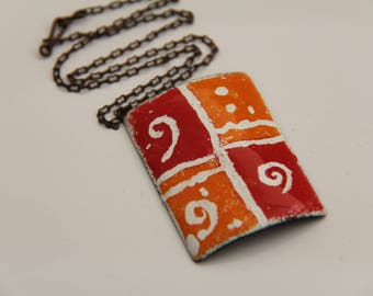 EN1045 - ENAMEL COPPER PENDANT, Enamel Pendant, Sgraffito Design, Copper, Vintaj Chain, Mother's Day Gift, Anniversary