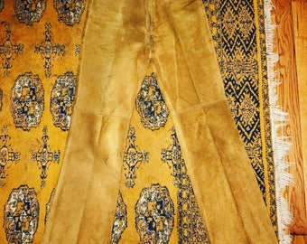 Vintage 1960's Tan Suede Big E Cowboy Pants / 30 waist / by Levi Strauss