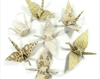 Origami paper cranes Garland Japanese white and gold washi