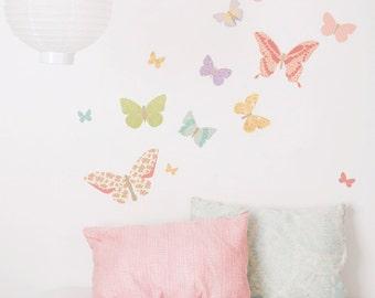 Fabric Wall Decal - Butterflies Girly (reusable) NO PVC
