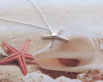 Nautical Silver Star Fish Starfish Charm Sterling Silver Chain Pendant Necklace Beach Jewellery