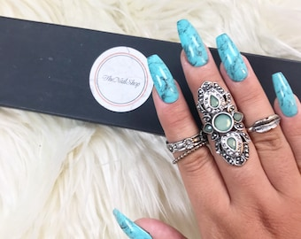 Turquoise Marble | Press On Nails | Blue Nails | Blue Marble | Blue Marble Nails | Any Shape and Size | Marble Press on Nails| Fake Nails
