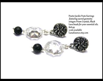 Lava Rock Earrings, Crystal Earrings, Pewter Earrings, essential oils, octagon crystals, jardin posts, crystal dangles, gift for her, gifts