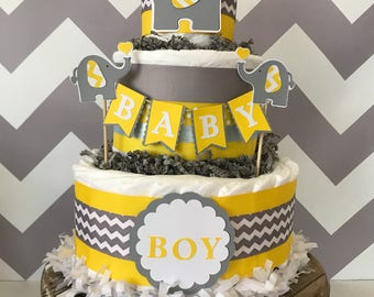 Elephant Diaper Cake in Yellow, Gray and White, Elephant Baby Shower Centerpiece, Elephant Baby Shower Decorations