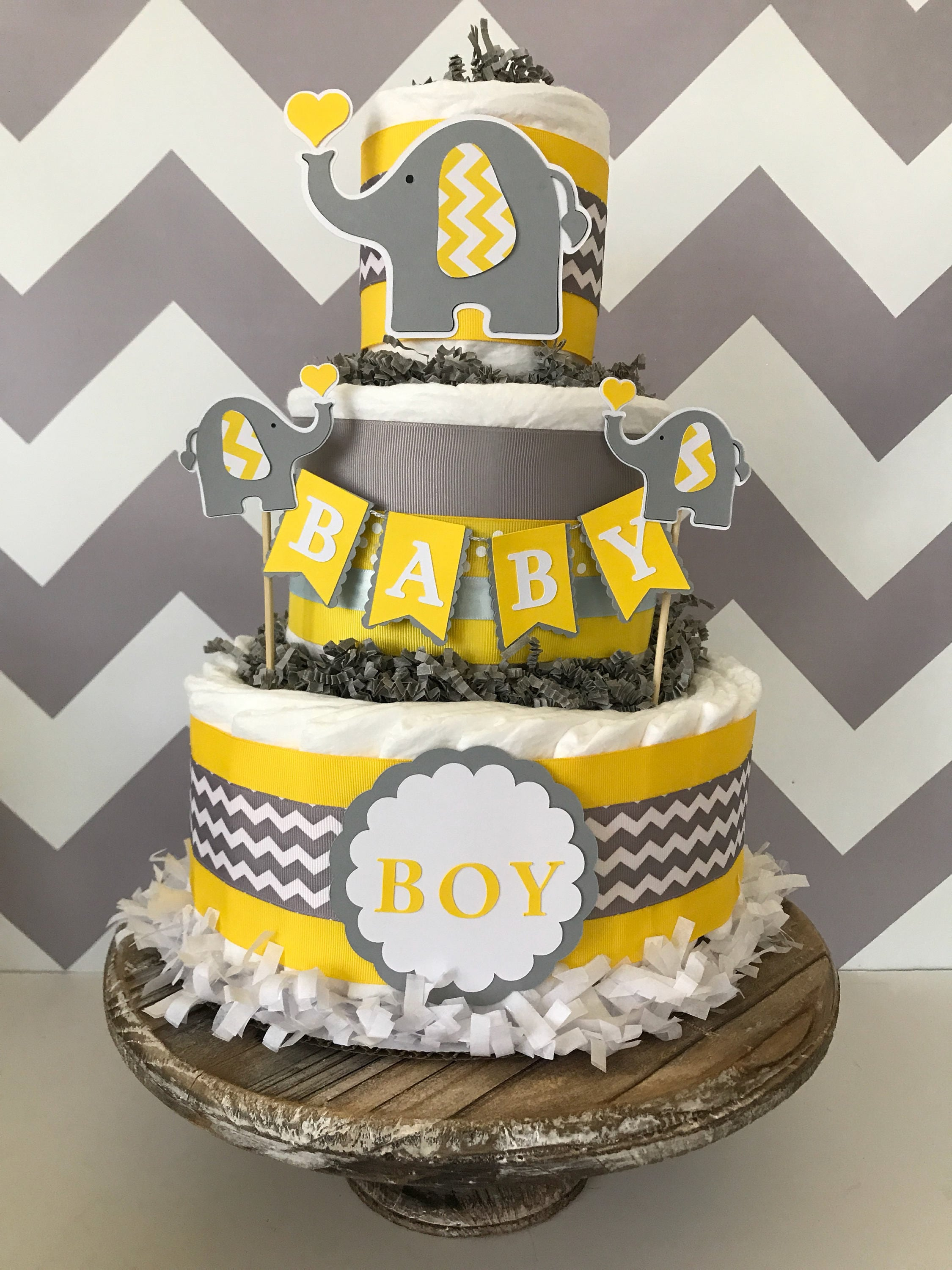 Elephant Diaper Cake in Yellow Gray and White Elephant Baby Shower