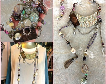Vintage Buddha moon assemblage necklace vintage beads open back crystals flapper necklace huge statement piece