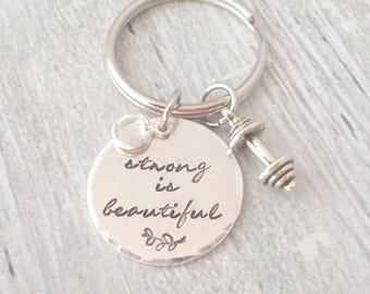 Strong Is Beautiful Keychain, Personalized Gift, Trainer Gift, Friend Gift, Inspirational Keychain, Daughter Gift, Barbell Keychain, Custom
