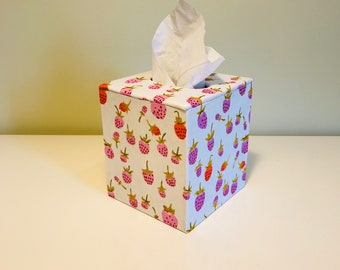 Tissue Box Cover with Strawberry Fabric