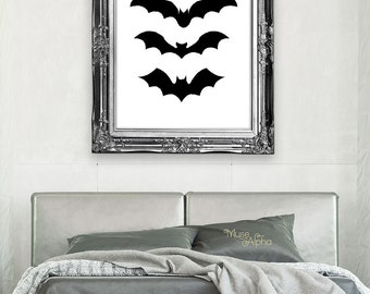 Halloween Bats Print, Halloween Poster, Dracula Printable, Bats Wall Art Bats Decor Multiple Sizes 4x6 5x7 8x10 11x14 12x16 24x30 MuseAlpha