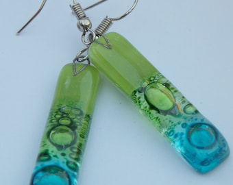 Green and Turquoise fused glass earrings. Recycled glass long drop earrings- Dangle Earrings