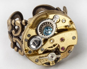 Steampunk Ring, Filigree Ring with Victorian Pocket Watch Movement, Gears & Faceted Blue Topaz Crystal on Adjustable Gold Band Jewelry Gift